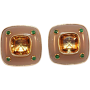 Trianon Citrine Rock Crystal 14K Gold Earrings with Emerald Accents