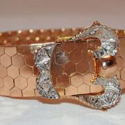 Victorian Style Segmented 18K Gold and Diamond Belt Bracelet