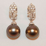 SALE Spectacular Tahitian Pearl Diamond and 18K White Gold Earrings