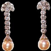 Edwardian Mine Cut Diamond and Pearl Drop Earrings