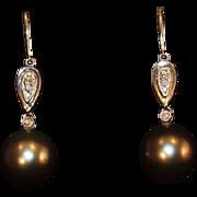 18K Gold Tahitian Pearl and Diamond Earrings