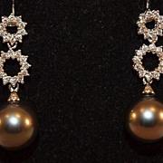 14K Gold Tahitian Pearl and Diamond Drop Earrings
