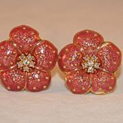 Hidalgo 18K Gold and Rose Enamel Flower Earrings