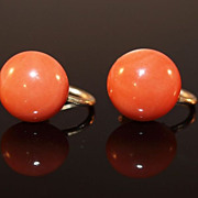 SALE Victorian Coral Cabochon Screwback Earrings