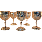 SALE Reed and Barton King Francis Silverplate Wine Goblet Set