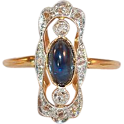 18k Gold and Platinum  Sapphire and Rose Cut Diamond Ring