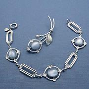 SALE Vintage Amco Blue Glass Moonstone Gold Filled Bracelet and Pin Set