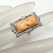 SALE Vintage Art Deco Celluloid Cameo Ring By Uncas