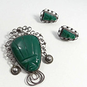 SALE Vintage Sterling Silver Green Onyx Mexican Face Pin & Earrings