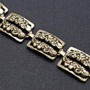 Beautiful Beau Sterling Silver Floral Link Bracelet