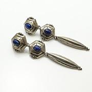 SALE Long Vintage Sterling Silver Lapis Earrings