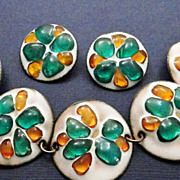 SALE Vintage Mid Century Enamel and Fused Glass Set Bracelet and Clip On Earrings