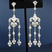 SALE Vintage Art Deco Paste Earrings 1920s Screw Backs LONG!