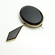 SALE Antique Victorian Rolled Gold Onyx Pin Brooch