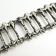 SALE Modernist Abstract Brutalist Pewter Bracelet