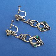 SALE Long Antique Art Nouveau Screw Back Drop Earrings