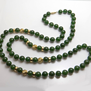 SALE Vintage 14KT Gold Jade Bead Necklace Fortunoff New York