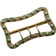 SOLD Antique Victorian Persian Turquoise Belt Buckle - Red Tag Sale Item