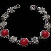 REDUCED Vintage Art Nouveau Red Glass Flower Sterling Silver Bracelet