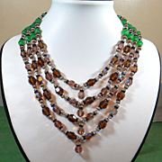 SALE Massive Vintage DeMario Aurora Borealis Crystal Necklace