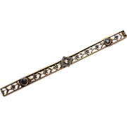 SALE Art Nouveau Diamond Sapphire 14KT Gold Floral Bar Pin