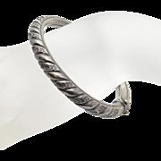 SALE Vintage Art Nouveau Repousse Sterling Silver Bangle Bracelet