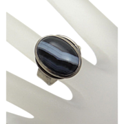 Chunky Sardonyx Agate Sterling Silver Ring Size 7