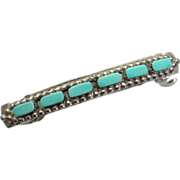 SOLD Sterling Silver Indian Turquoise Barrette - Red Tag Sale Item