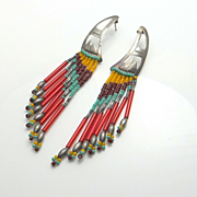 SALE Long Colorful Sterling Silver Hand Made Bead Earrings 4 INCHES!