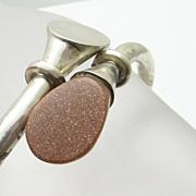 SALE Mexican Sterling Silver Modernist Goldstone Bypass Bracelet