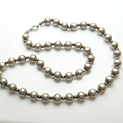 SALE Long Vintage Sterling Silver Bead Necklace