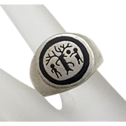 REDUCED Sterling Silver Tree of Life Enamel Ring Size 9 1/2