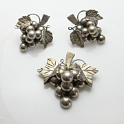 Mexican Sterling Grape Cluster Pin Pendant Earrings Set