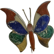 Early Mexican 980 Sterling Silver Stone Butterfly Pin