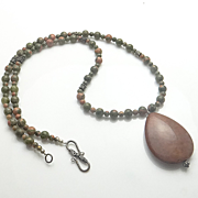 SALE Unakite Jasper Sterling Silver Bali Bead Necklace