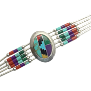 REDUCED Liquid Sterling Silver Inlaid Turquoise Stone Bead Bracelet