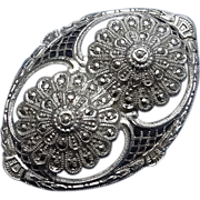 REDUCED Vintage Sterling Silver Marcasite Filigree Brooch Pin  Floral Art Deco