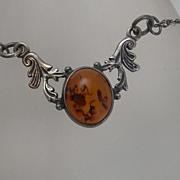 REDUCED Vintage Sterling Silver  Amber Necklace