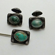 REDUCED Early Vintage Native American Indian Cuff Links Stick Pin Set