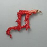 REDUCED Huge Vintage Kenneth J Lane KJL Faux Branch Coral Necklace Pendant