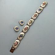 SALE Vintage Mid-Century Norwegian Gilt Sterling Silver Guilloche Enamel Floral Bracelet Earri