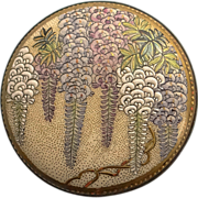 SOLD Antique  Hand Painted Japanese Satsuma Wisteria Pottery Belt Buckle