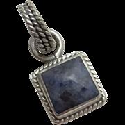 Mexican Sterling Silver Denim Lapis Necklace Pendant