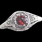 Vintage  Sterling Silver Filigree Garnet Ring