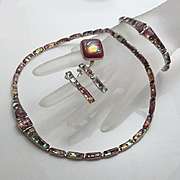 REDUCED Mexican Sterling Silver 950 Dichroic Glass Set Necklace Bracelet Earrings Ring