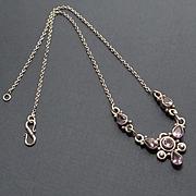 REDUCED Vintage Sterling Silver Amethyst Necklace