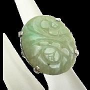 REDUCED Vintage Sterling Silver Carved Jade Ring