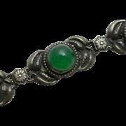 REDUCED Vintage Art Nouveau Sterling Silver Chrysophase Flower Bracelet