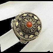 REDUCED Vintage Israel Coral Silver 835 Gold Wash Filigree Ring