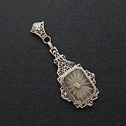 REDUCED Vintage Art Deco 10K Gold Diamond Camphor Glass Pendant Necklace